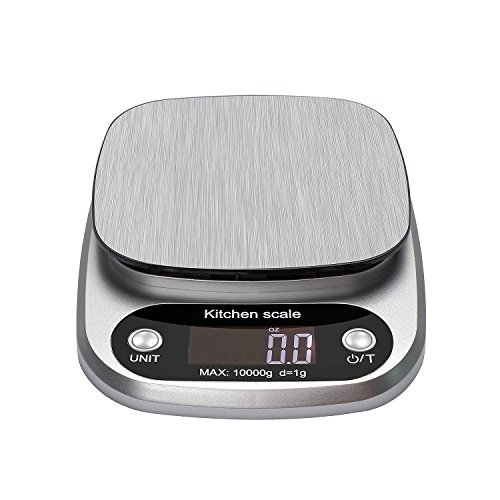 Vovoly Digital Kitchen Scale Multifunction Food Scale 22lb 10kg Silver Stainless Steel (Convert 3-3 Kg To Lbs And Oz)