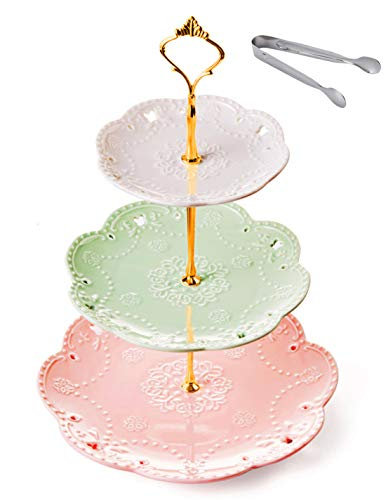 Jusalpha 3-tier Ceramic Cake Stand-Dessert Stand-Cupcake Stand-Tea Party Serving Platter (3 Color-Gold) (Three Tier Paper Plate Holder)