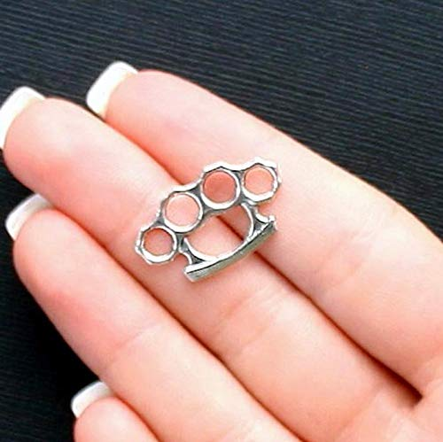 8 Brass Knuckle Charms Antique Silver Tone 2 Sided Vintage Crafting Pendant Jewelry Making Supplies - DIY for Necklace Bracelet Accessories by CharmingSS ()