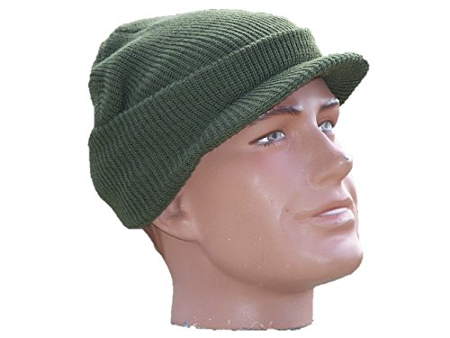 Hat Cap Knit Military Army MASH Watch with Visor 100% Wool Made USA w P38 Can Opener