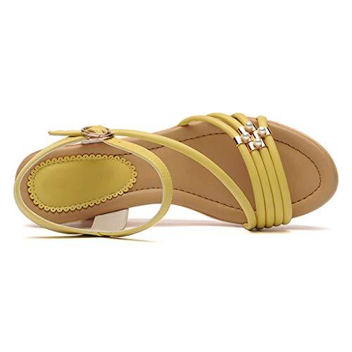 Plataforma Gruesas Verano Tiras Aire Cuñas Playa Bohemios Sandalias yellow Soles Libre Zapatos Toe 36 Señoras Al Open Muffins xf7ECqww