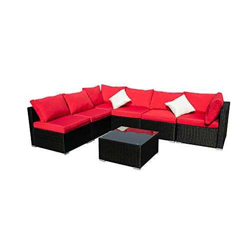 KOOLWOOM Outdoor Patio Furniture Set,Sectional Wicker Sofa Washable Waterproof PE Cushions,Backyard,Pool (7, Red) (Best Sectional Sofa 2019)