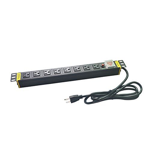 Outlet Rackmount Surge Protector (Trenztek 8 Outlets 90 Degree Design Network Grade PDU Power Strip Surge Protector, 1U/15A/120V Aluminum Alloy Power Distribution Unit with Rackmount and Screws)