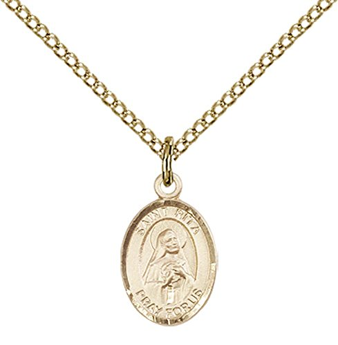 14kt Gold Filled St. Rita of Cascia Pendant with 18