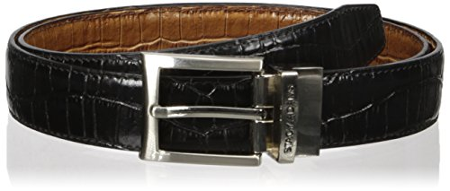 Stacy Adams Men's 30mm Croco Embossed Genuine Leather With Twist Reversible Belt, Black/Cognac, 38