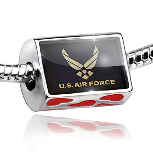 NEONBLOND Bead with Hearts United States Air Force - Charm Fit All European Bracelets, Ne