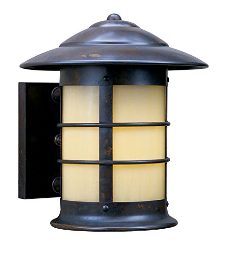 Arroyo Craftsman Closed Top-Wet Rated Newport Sconce Antique Brass Metal Finish, Rain Mist Glass, 14