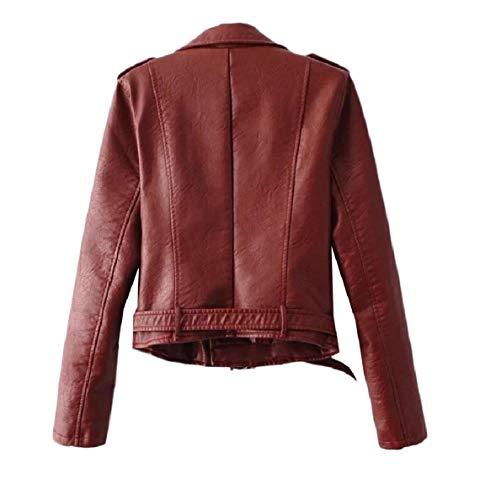 90f81ca3e4e6c9 ... Candy Pu Red Zipper Leather Collar Willwinwomen Closure Jackets down  Turn qOXwzYzZ