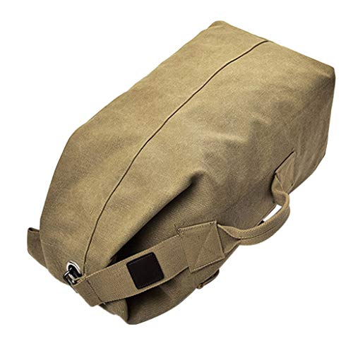 MagiDeal Outdoor Canvas Hiking Backpack Sport Rucksack Travel Duffel Bag Camping Backpacking Walking - Khaki L, L