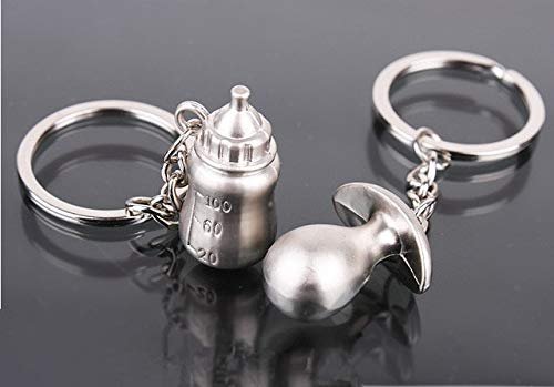 (BeesClover 10PCS Baptism Favors Milk Bottle Pacifier Keychain for Baby Shower Favors Wedding Gift for Guests Souvenirs Show )