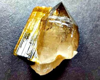 Bicolor Tourmaline on Smoky Quartz Crystal For Wire Wrapping, Collection or Ritual. Natural Mineral Specimen