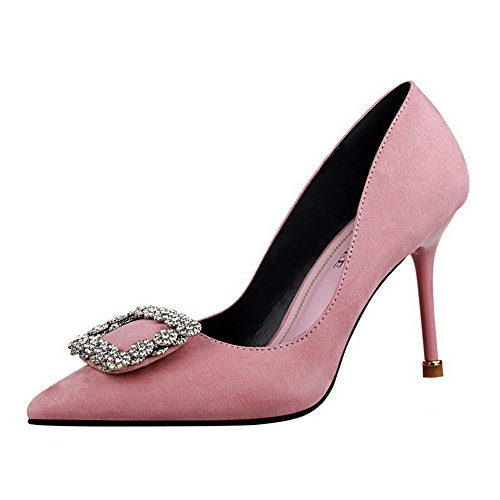 Heels On Pull Imitated Pointed Suede Toe Solid Pink Shoes Pumps Women's High 37 WeiPoot HCqFpF