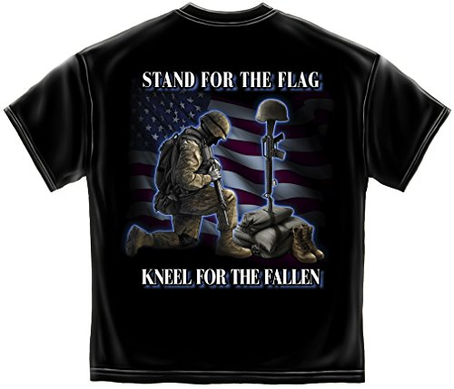 Erazor Bits Patriotic I Stand for The Flag Kneel for The Fallen American Flag Marine Corps US Army Air Force US Navy Military 100% Cotton T-Shirt Black ADD3-MM2323L Large from Erazor Bits