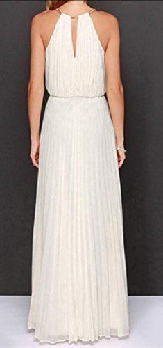 Maxi Sleeveless Out White Jaycargogo Open Pleated Dresses Women's Back Shoulder Cut Axw8g16nU
