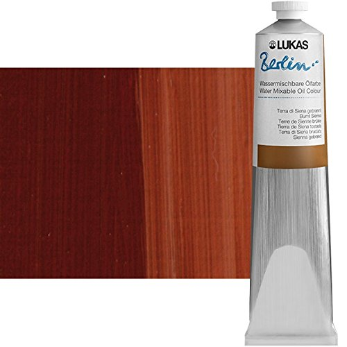 LUKAS Berlin Professional Quality Water Mixable Oil Color Paint Highly Pigmented Beeswax Oil Paint - Single 200 ml Tube - Burnt (Highly Water)