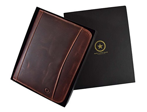 RFID Protected Premium Genuine Leather Business Portfolio and Professional Organizer with a Legal Notepad and Gift Box, by Aaron Leather (Brunette Brown) by Aaron Leather