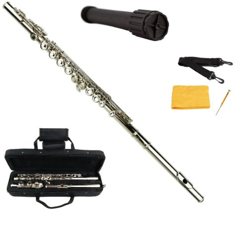 Merano Silver Nickel Flute with Carrying Case+Black Stand+Clean Rod