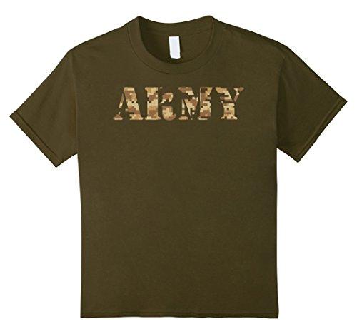 Kids Army Soldier Shirt Digital Desert Camo Tee 10 Olive -
