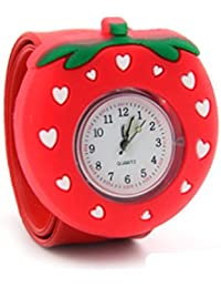 Lovely Top Girls Fashion Cartoon Silicone Slap Snap On Wrist Watch - Red Strawberry