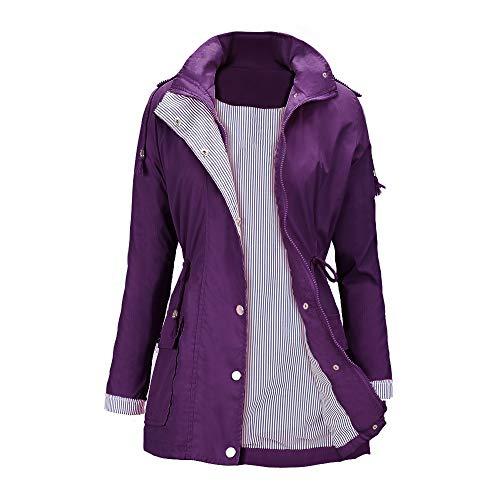 Raincoats Waterproof Lightweight Rain Jacket Active Outdoor Hooded Women's Trench Coats Purple