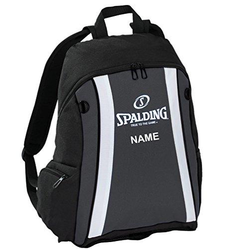 Spalding Basketball Rucksack inkl. Ballnetz anthrazit/schwarz mit Aufdruck Namen