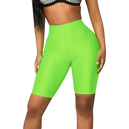FIRERO Womens Elastic High Waist Yoga Shorts Leggings Sports Casual Pants Green ()
