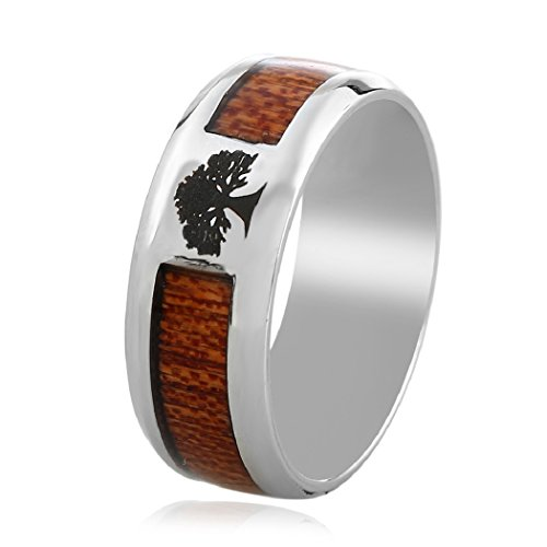 Tree of Life Band Rings Wedding For Men Women Wood Carbon Fiber Inlay Promise Jewellery By SUNSCSC - Carbon Fiber Wood