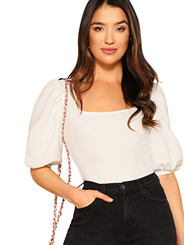 Puff Sleeve Blouse - Romwe Women's Casual Puff Sleeve Square Neck Slim Fit Crop Tee Tops White US 8/Medium