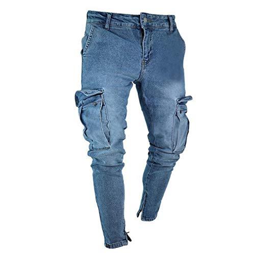 Skinny Azzurro Equitazione Pantaloni 4xl Da Fit Denudati S Denim Slim Zip Strappati Jeans Con Elasticizzati Uomo ASSIWnxT