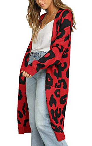 (Angashion Women's Long Sleeves Leopard Print Knitting Cardigan Open Front Warm Sweater Outwear Coats with Pocket Red L)