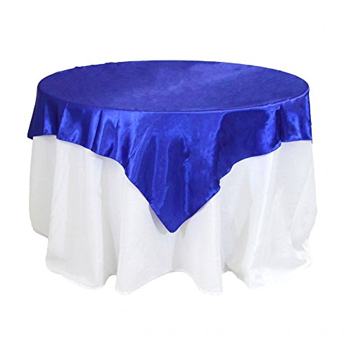 Koyal Wholesale Square Satin Overlay Table Cover, 60 by 60-Inch, Royal -