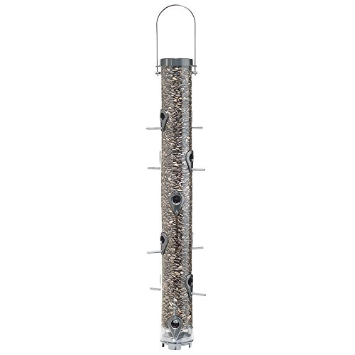 (Droll Yankees Classic Sunflower or Mixed Seed Bird Feeder, 30 Inches, 12 Ports, Silver)