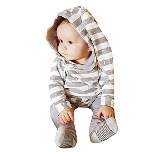 Infant Baby Boys Girls Striped Hooded Tops Rabbit Ear Long Sleeve Cartoon Coat Sweatshirt + Pants 2pcs Clothes Set (Gray, 12-18 Months) by Aritone - Baby Clothes