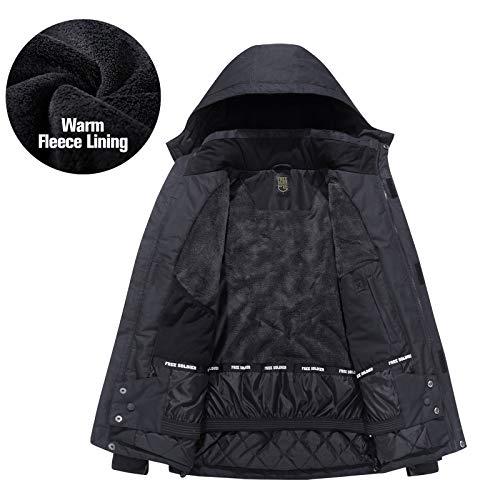 FREE SOLDIER Men's Waterproof Ski Snow Jacket Fleece Lined Warm Winter Rain Jacket with Hood Fully Taped Seams