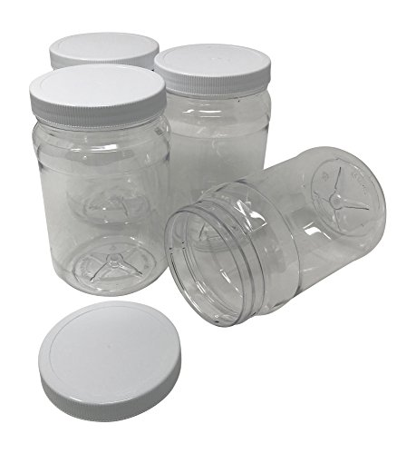 CSBD 32 Oz Clear Plastic Jars With Ribbed Liner Screw On Lids, BPA Free, PET Plastic, Made In USA, Bulk Storage Containers (4, 32 Ounces)