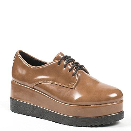 Ideal Shoes, Damen Schnürhalbschuhe Camel