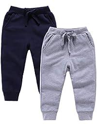 4844a4768629d Toddler Boys Girls Sweatpants Joggers Pants 2-Pack Casual Active Elastic  Cotton Kids Pants 2