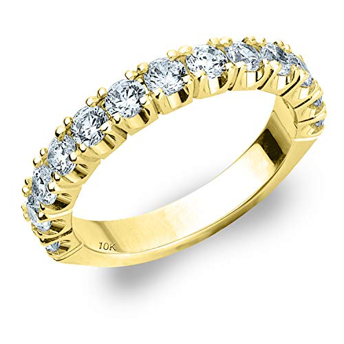 1ct Genuine Diamond Ring, 4-Prong Wedding Anniversary Band in 10K Yellow Gold - Finger Size - Prong Genuine 4 Diamond