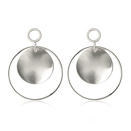 Womens Silver Tone Textured Disk Dangling Hoop Earrings Round Drop Earrings Stainless Steel Jewelry