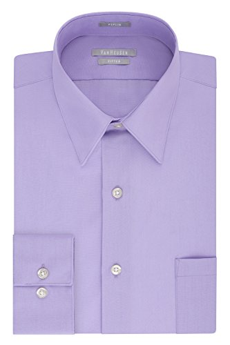 Van Heusen Men's Big and Tall Poplin Fitted Solid Point Collar Dress Shirt, Lavender 18.5