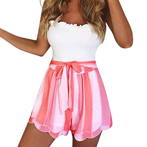 Mini Shorts Jumper - Summer Clearanc!Women Ladies Casual Printing Striped Petal Double Layer Shorts Pants by-NEWONESUN Hot Pink