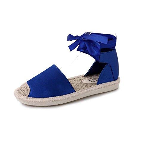 Sandalias De Mujer, Internet Zapatos Planos De Las Sandalias Del Verano De La Correa Plana Del Tobillo De Las Mujeres Azul