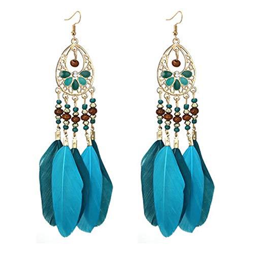 Bohemian Geometric Feather Tassel Drop Dangle Earrings for Women Girl Fringe Long Pendant Earring Pendientes 3001,blue2