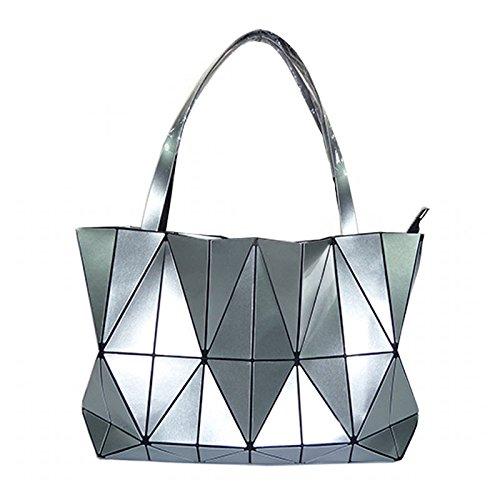 Jockey Flower Print (New Fashion Bag Women Plain Folding Lady Handbags Geometry Style Female Shoulder Bags Large Women Casual Tote Famous (Silver Color))