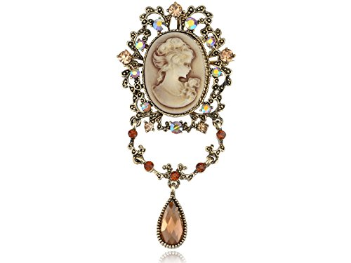 [Alilang Womens Antique Golden Tone Topaz Colored Rhinestones Vintage Cameo Dangle Brooch Pin] (Cameo Flowers Brooch)