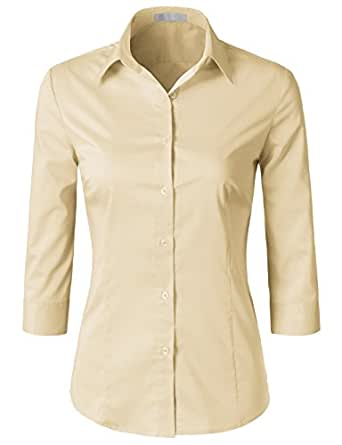 H2H Womens Office Formal Slim Fit 3/4 Sleeve Button Down Shirt Blouse Top Beige L