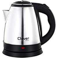Clever Kitchen Electric Kettle 1.5 Liter Stainless Steel Automatic Cordless Kettle Electric, E Kettle Tea Hot Water Car Travel Portable Electric Kettle Auto Shut-Off (1.5 Ltr, 1500-Watt, Silver Black)