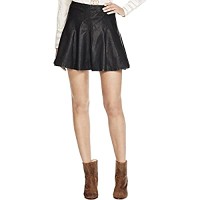 Free People Womens Faux Leather Back Zip Flare Skirt