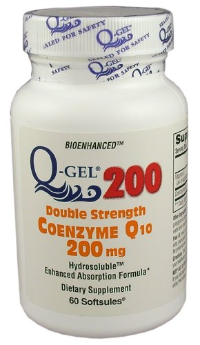 Q-Gel 200mg Double Strength Hydrosoluble CoQ10 (180 Softgels) by Q-Gel