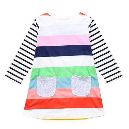 Price comparison product image OTINICE Baby Girls Long Sleeve Cotton Dress Princess Striped Pocket Casual Dress Autumn